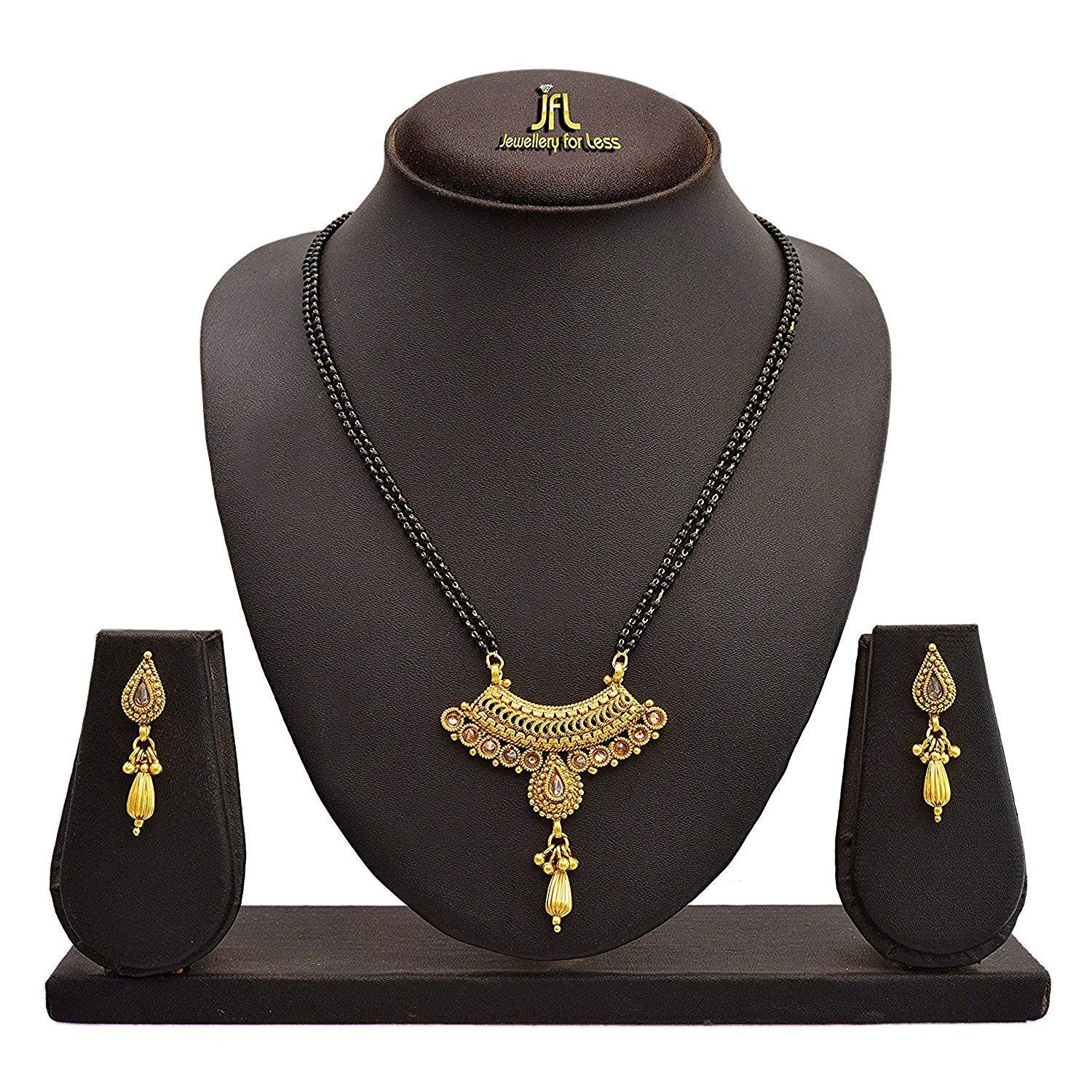 JFL - One Gram Gold Plated Lcd Champagne Diamond Mangalsutra With Black Beaded Chain And Earrings For Women