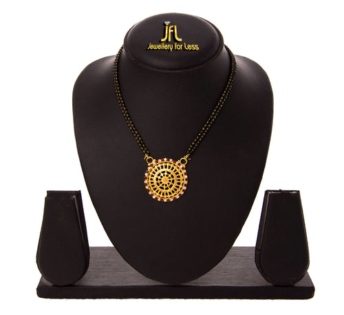 JFL -Traditional Ethnic One Gram Gold Plated Red and White Diamond Designer Mangalsutra with Double Black Beaded Chain for Women.