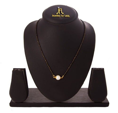 JFL - Jewellery for Less One g Gold Plated Pearl and Black Beaded Chain Traditional Ethnic Mangalsutra for Women