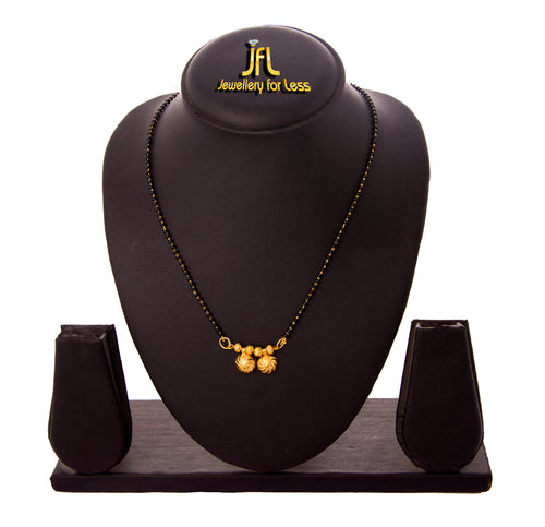 JFL -Traditional Ethnic One Gram Gold Plated Double Wati Designer Mangalsutra with Black Beaded Chain for Women.