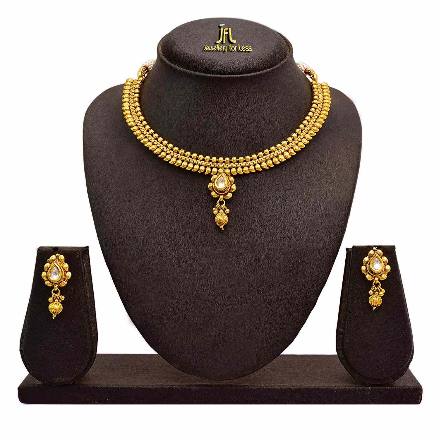 Traditional Ethnic One Gram Gold Plated Kundan Designer Necklace Set With Earrings For Women
