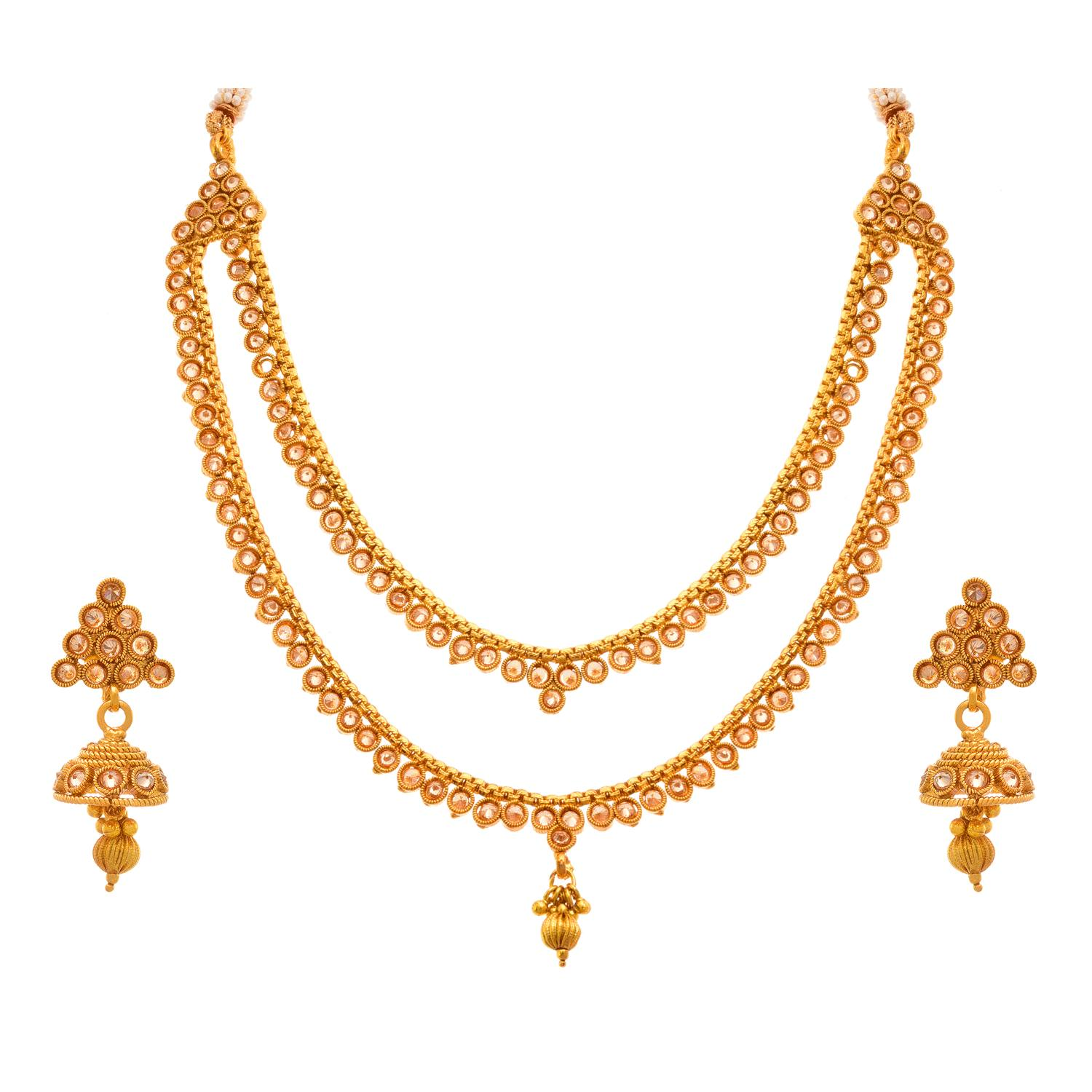 JFL - Traditional and Ethnic One Gram Gold Plated Cz American Polki Diamonds Designer Necklace Set with Earring for Girls & Women