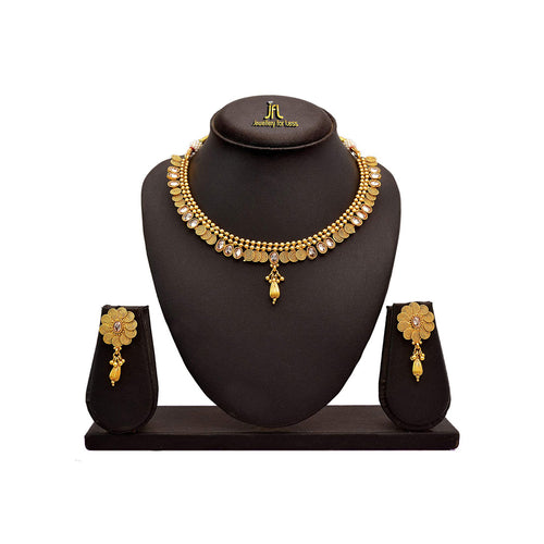 JFL - Traditional Ethnic One Gram Gold Plated Polki Spiral Bead Designer Necklace Set with Earring for Girls and Women.