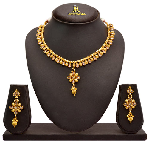 Jfl - Jewellery For Less Traditional Ethnic One Gram Gold Plated Polki Diamond Necklace Set With Earrings For Women & Girls.