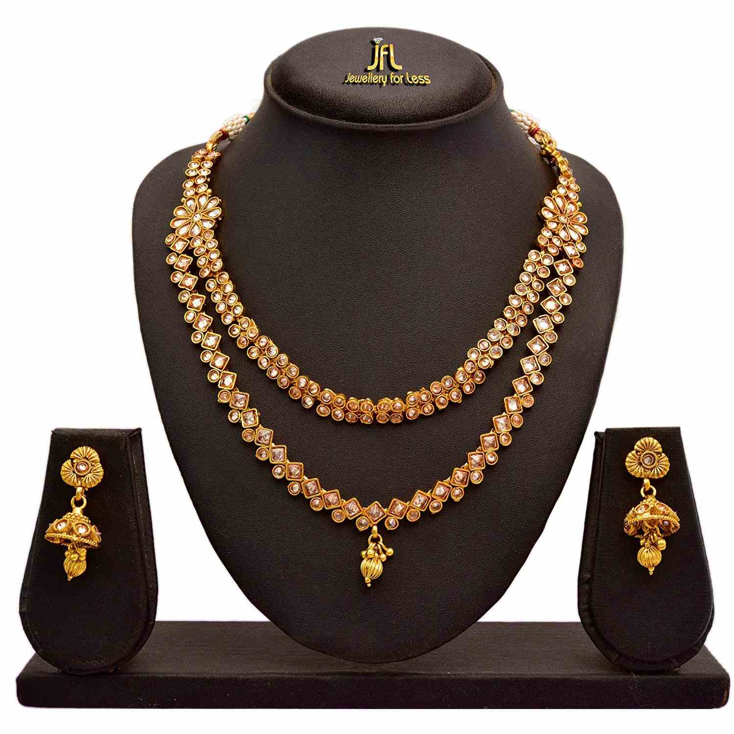 Jewellery For Less Traditional And Ethnic One Gram Gold Plated Cz American Polki Diamonds Necklace Set With Earring For Women