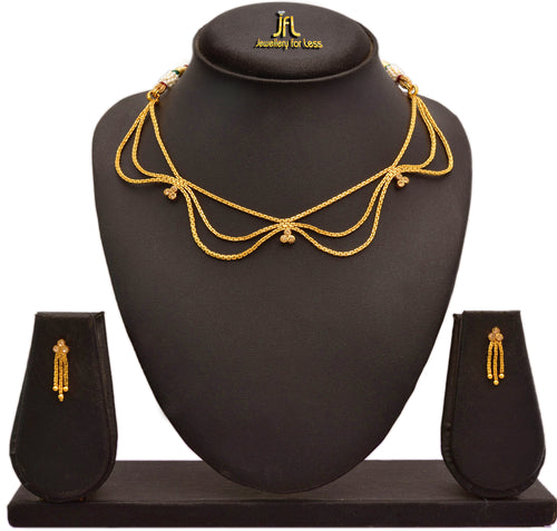 JFL - Jewellery for Less Gold Plated Diamond Necklace Set with Earrings for Women & Girls.