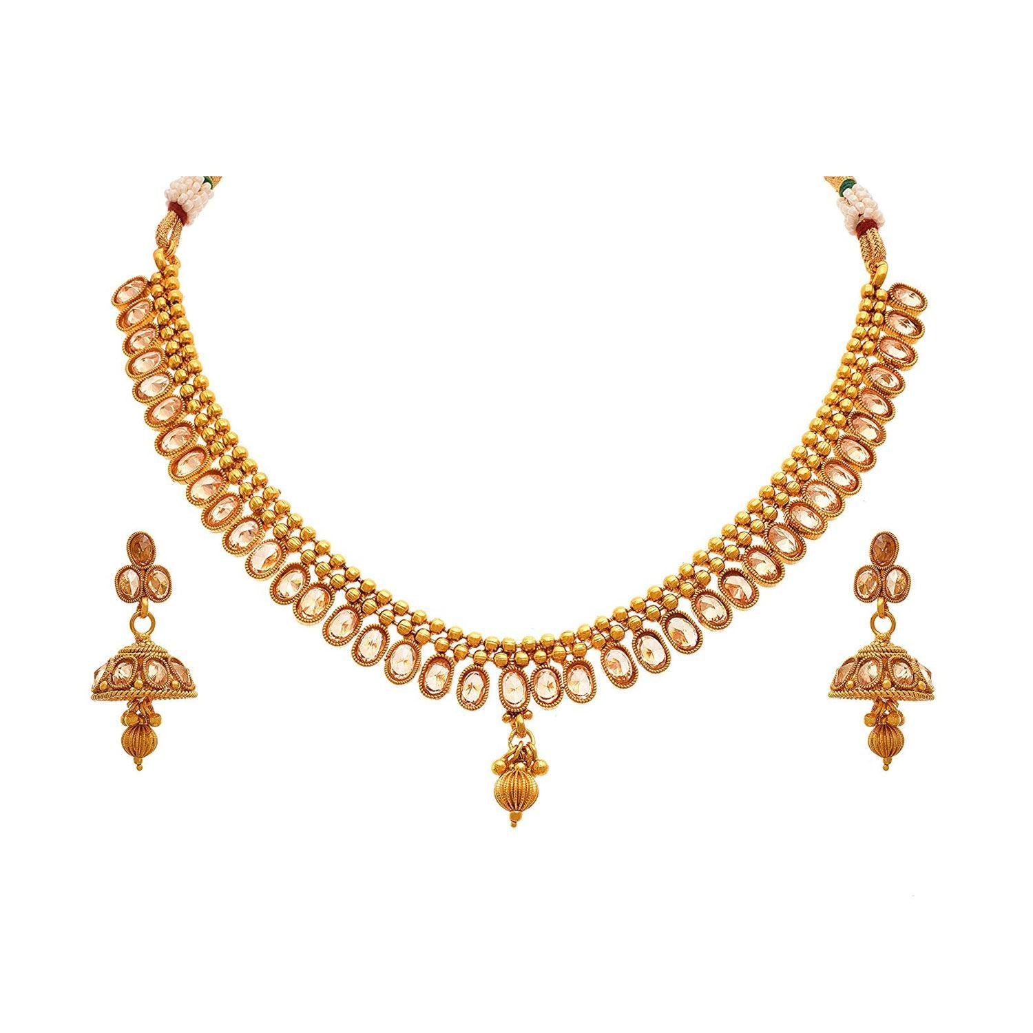 JFL- Jewellery For Less Traditional & Ethnic One Gram Gold Plated Polki Diamond Designer Necklace Set With Earring For Women