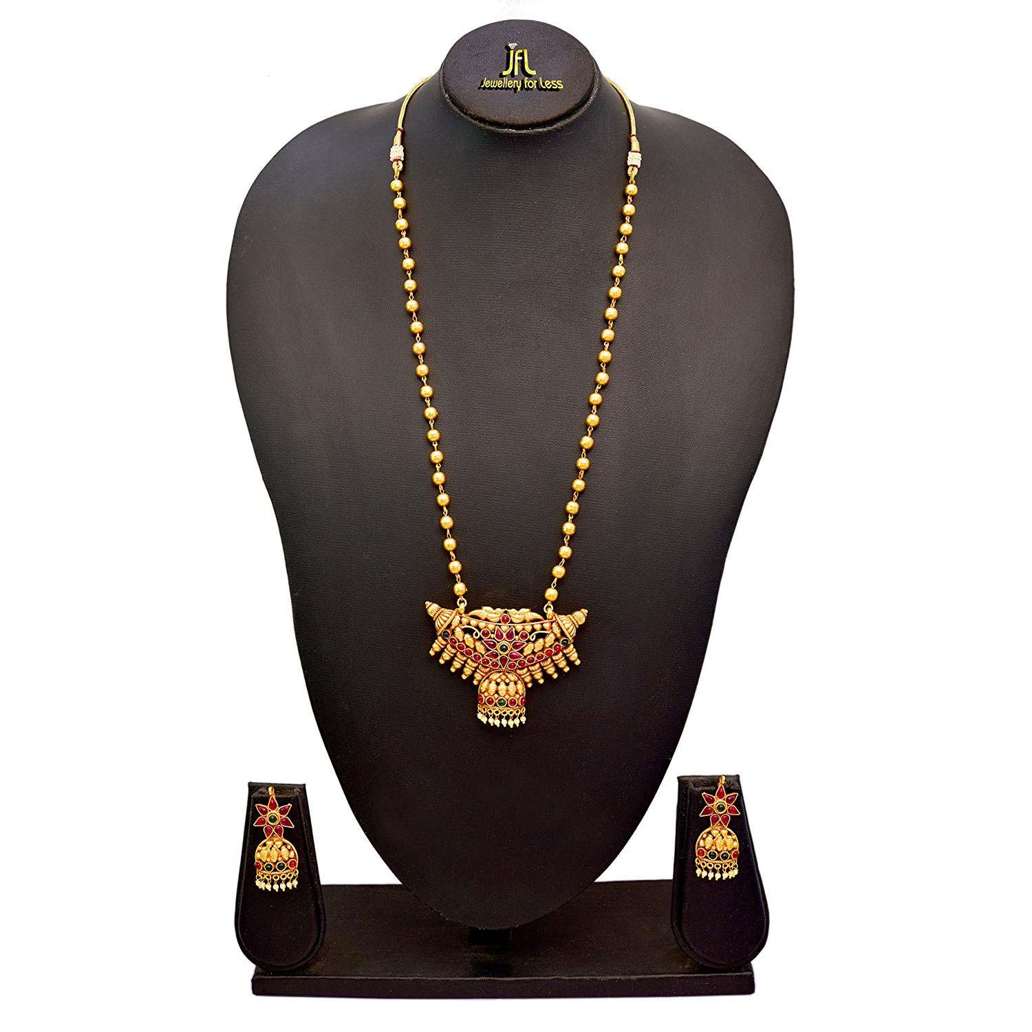 JFL - Traditional Ethnic Kemp One Gram Gold Plated Green & Pink Stone Designer Necklace Set for Women and Girls