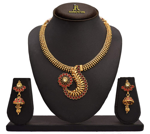 Jfl - Jewellery for Less Traditional Ethnic One Gram Gold Plated Necklace Set with Earrings for Women & Girl.