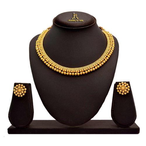Traditional And Ethnic One Gram Gold Plated Bead Necklace Set With Earring For Women