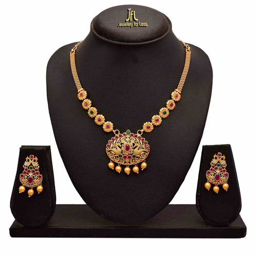 JFL - Traditional Ethnic One Gram Matt Gold Plated Peacock Pink & Green Stone Designer Necklace Set for Women and Girls.