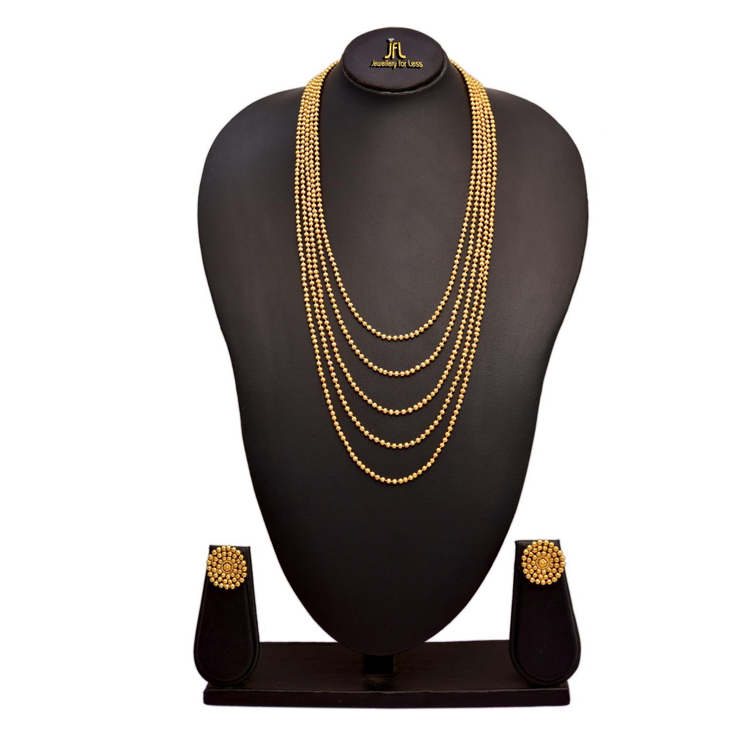 Jewellery For Less Traditional Ethnic One Gram Gold Plated Bead Designer Long Necklace Set With Earrings For Women & Girls.