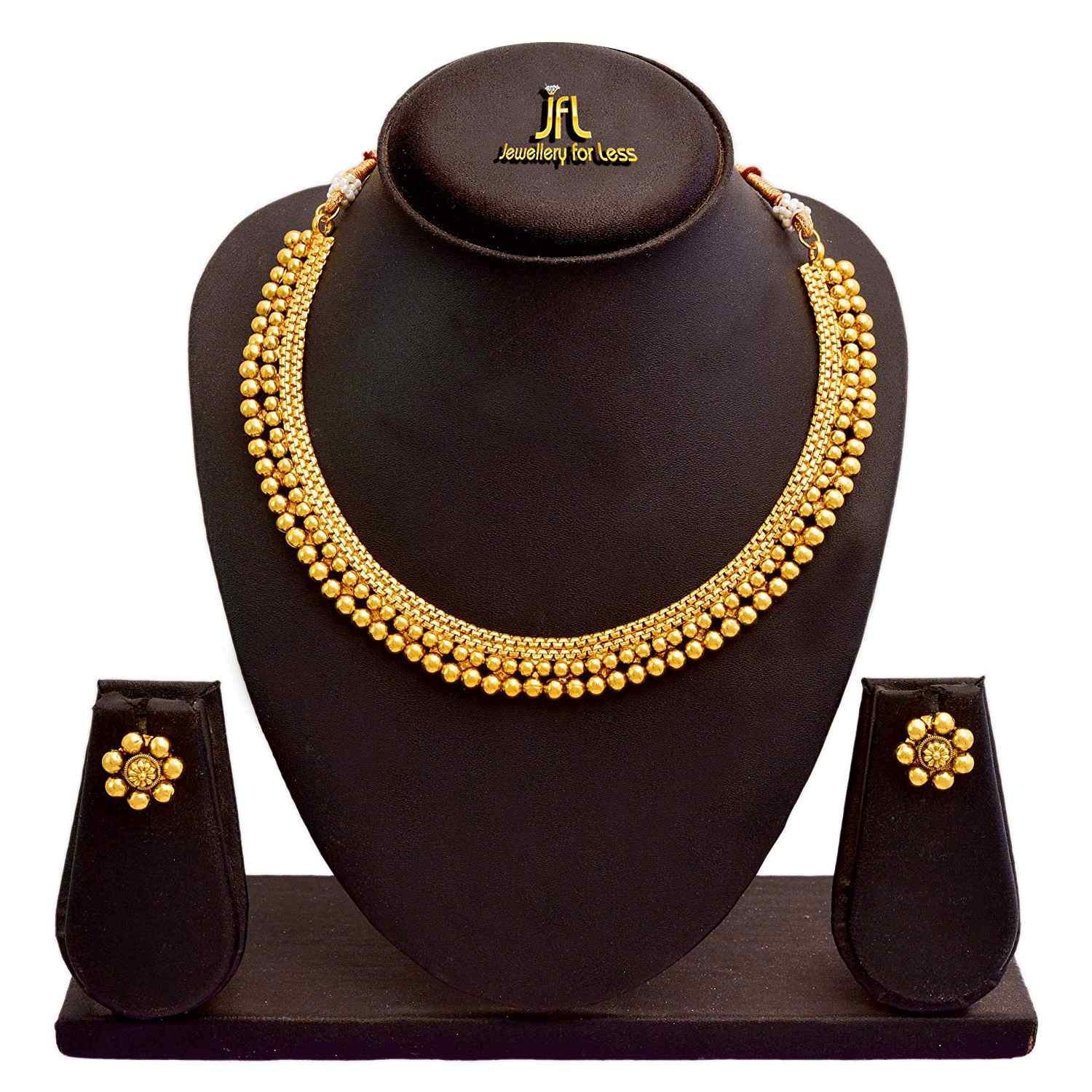 JFL - Traditional and Ethnic One Gram Gold Plated Bead Designer Necklace Set with Earring for Girls & Women.