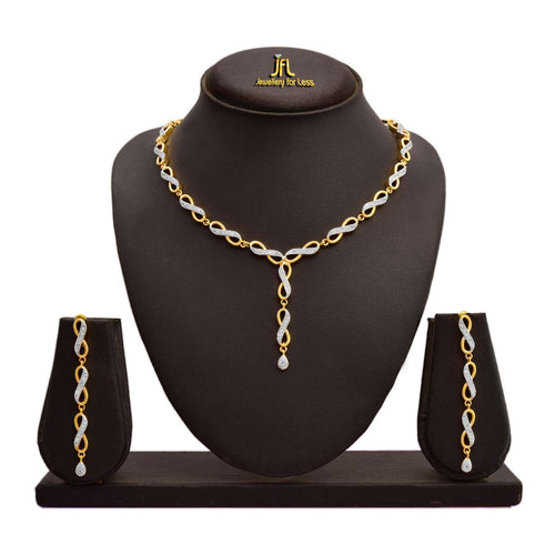 JFL - Jewellery For Less Fusion Ethnic One Gram Gold Plated Cz American Diamonds Necklace Set For Women