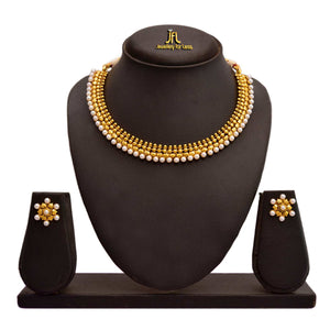 Traditional Ethnic One Gram Gold Plated White Pearls Designer Necklace Set For Women