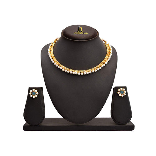 JFL - Traditional Ethnic One Gram Gold Plated Pearls Designer Necklace Set for Women & Girls