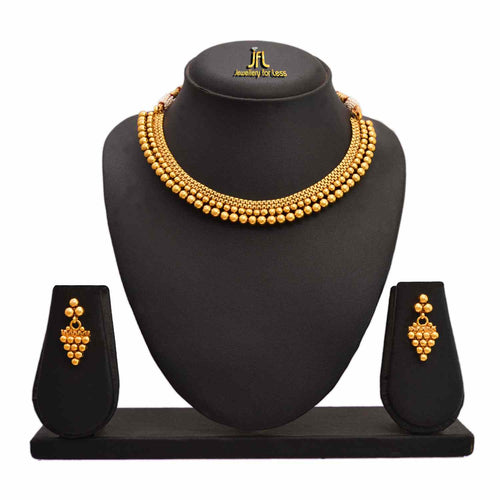 Traditional Ethnic One Gram Gold Plated Bead Designer Necklace Set with Earring for Women