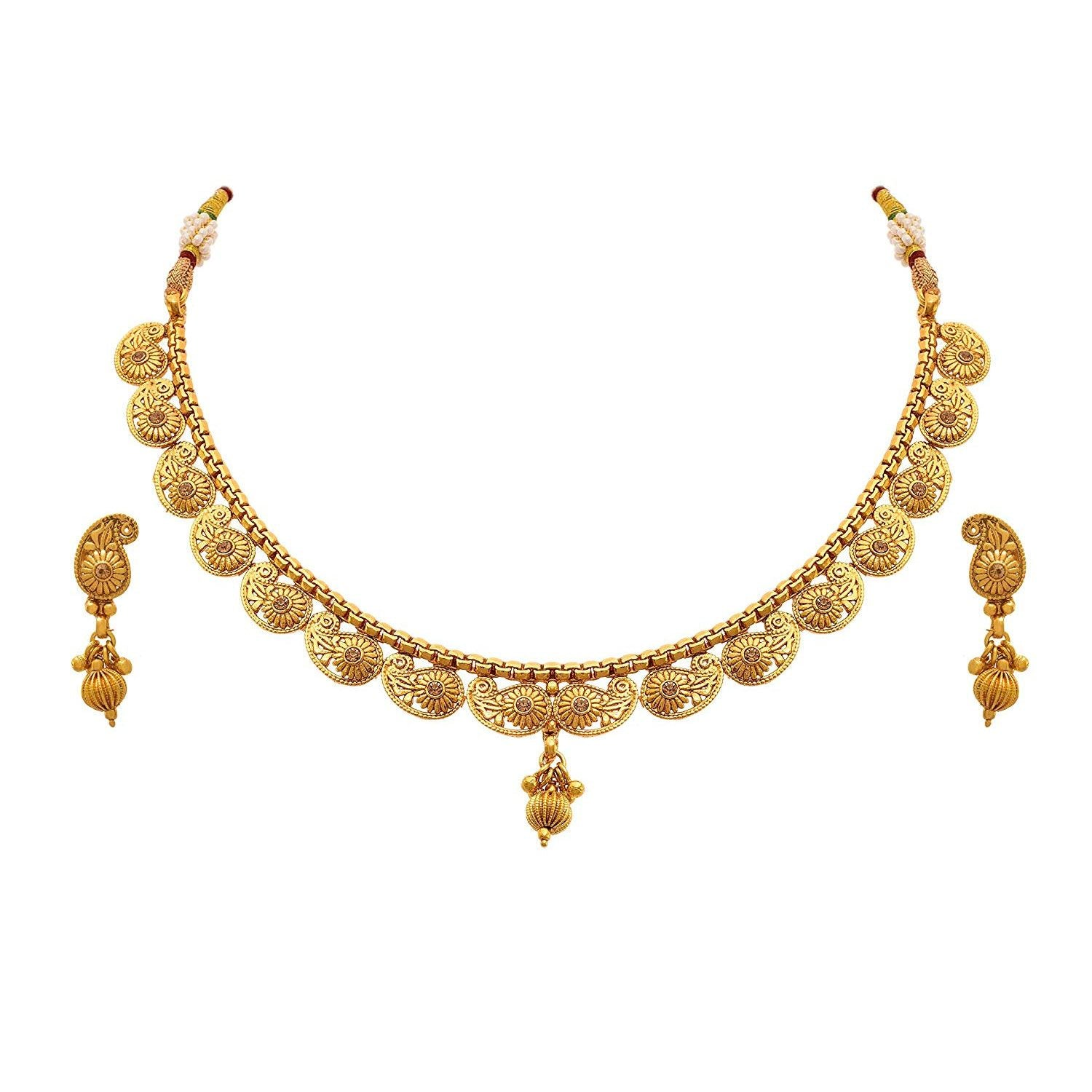 JFL-Jewellery For Less Traditional Ethnic One Gram Gold Plated Diamond Designer Necklace Set With Earrings For Women & Girls.
