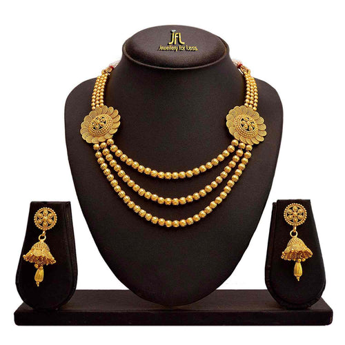 JFL - Traditional Ethnic One Gram Gold Plated Spiral Bead Designer Necklace Set With Earrings for Women & Girls.