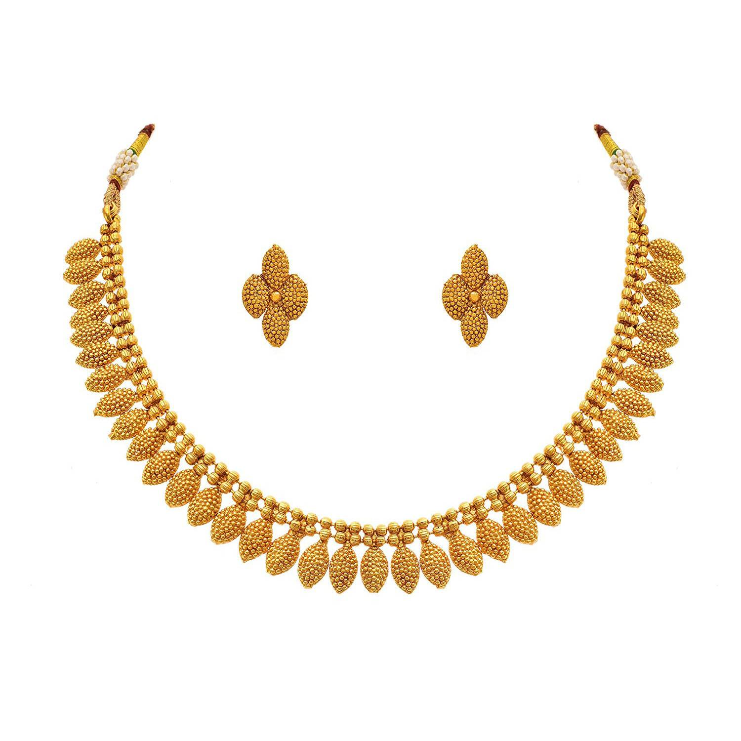 Traditional One Gram Gold Plated Designer Necklace Set With Earrings For Women & Girls
