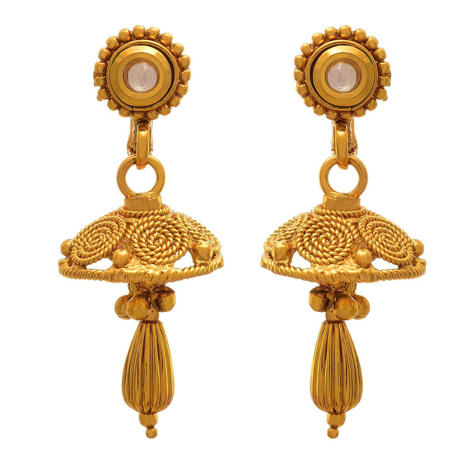 JFL - Traditional Ethnic One Gram Gold Plated Spiral Designer Necklace Set with Earring for Women & Girls.