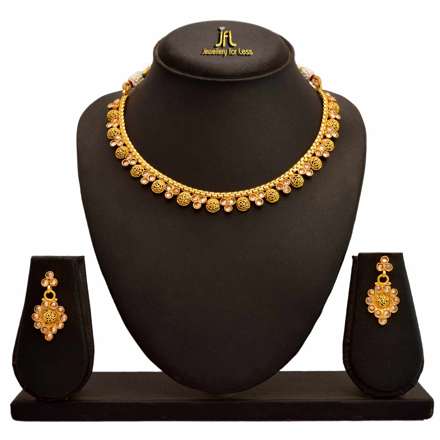 JFL -  Jewellery For Less Traditional Ethnic One Gram Gold Plated Polki Diamond Designer Necklace Set With Earrings For Women & Girls.