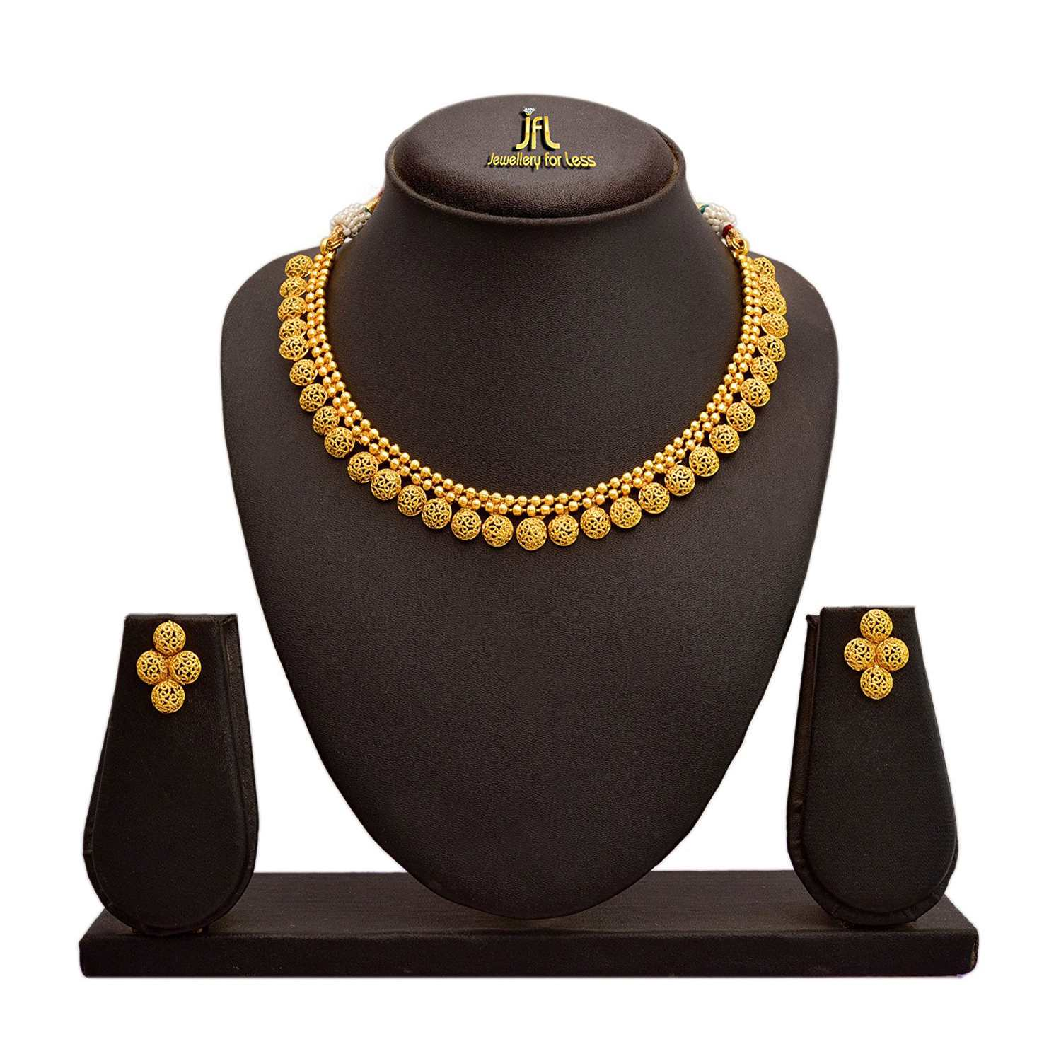 Traditional Ethnic One Gram Gold Plated Designer Necklace Set With Earrings for Women