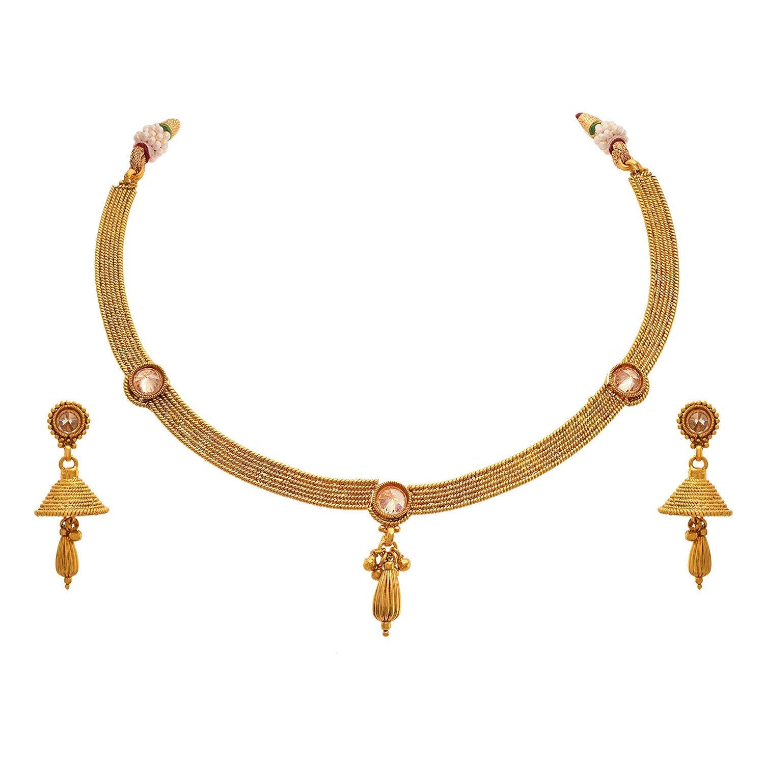 JFL - Traditional Ethnic One Gram Gold Plated Polki Diamond Designer Necklace Set with Earrings for Women & Girls.