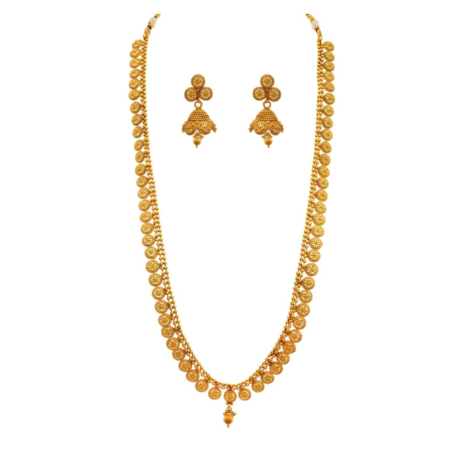 JFL - Jewellery For Less Traditional Ethnic One Gram Gold Plated Designer Long Necklace Set With Earring For Women