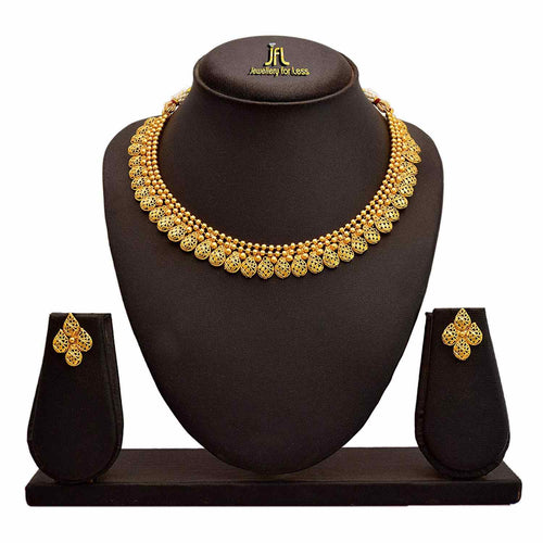 Jfl - Jewellery For Less Traditional Ethnic One Gram Gold Plated Designer Necklace Set With Earrings For Women & Girls.