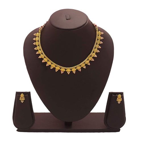 BFC- Buy For Change Ethnic Pearl Design 22K One Gram Gold Plated Wedding Necklace Set And Jewellery Set Women And Girls