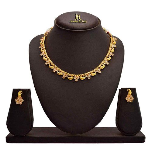 JFL-Jewellery For Less Traditional Ethnic One Gram Gold Plated Polki Diamond Designer Necklace Set With Earrings For Women & Girls.