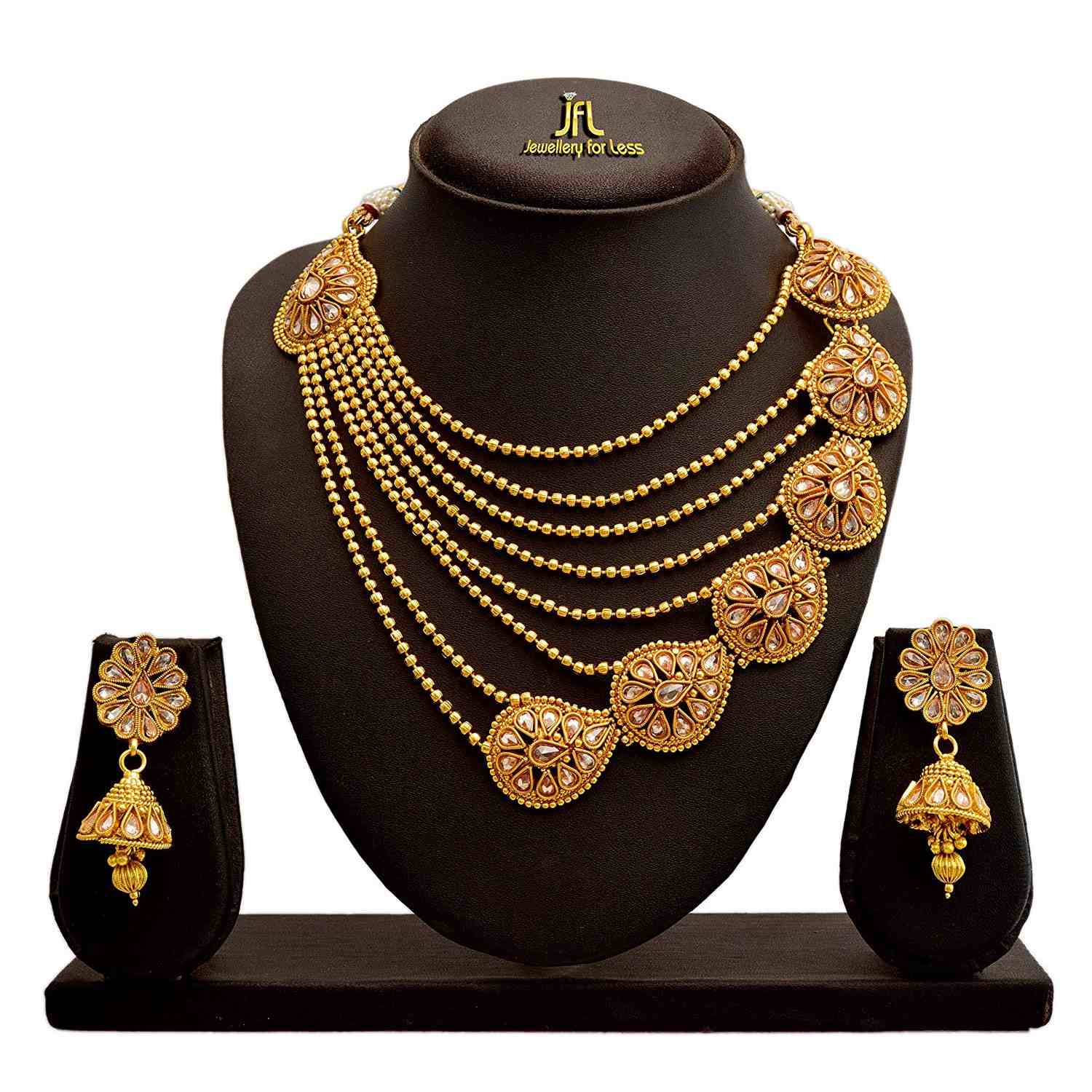 JFL - Traditional Ethnic One Gram Gold Plated Bead Polki Diamond Designer Necklace set with Earring for Women & Girls.