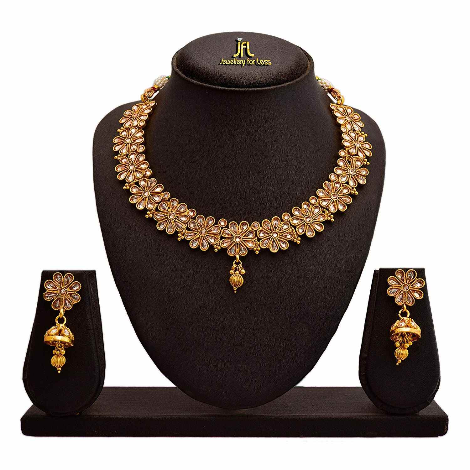 JFL - Traditional Ethnic One Gram Gold Plated Polki Diamond Designer Necklace set with Earring for Women & Girls.