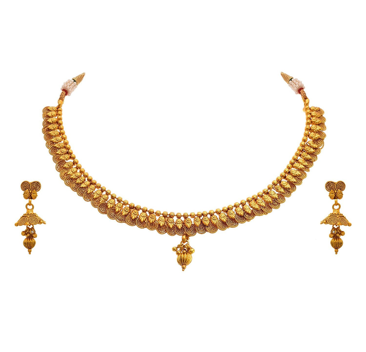 JFL - Traditional Ethnic One Gram Gold Plated Spiral Designer Necklace Set with Earring for Women and Girls