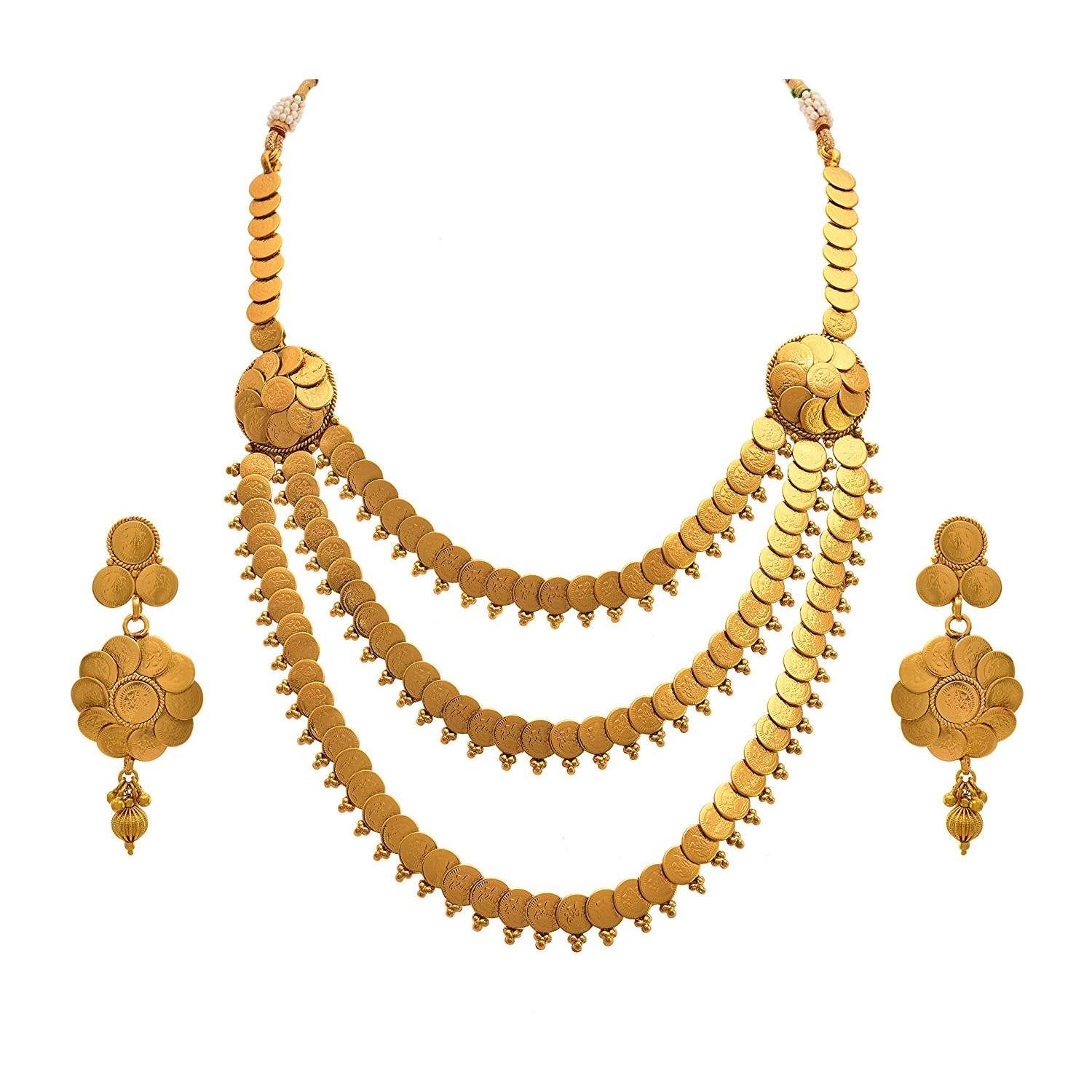 JFL -  Jewellery For Less Traditional Ethnic Temple Laxmi Goddess One Gram Gold Plated Coin Designer Necklace Set With Earring For Women