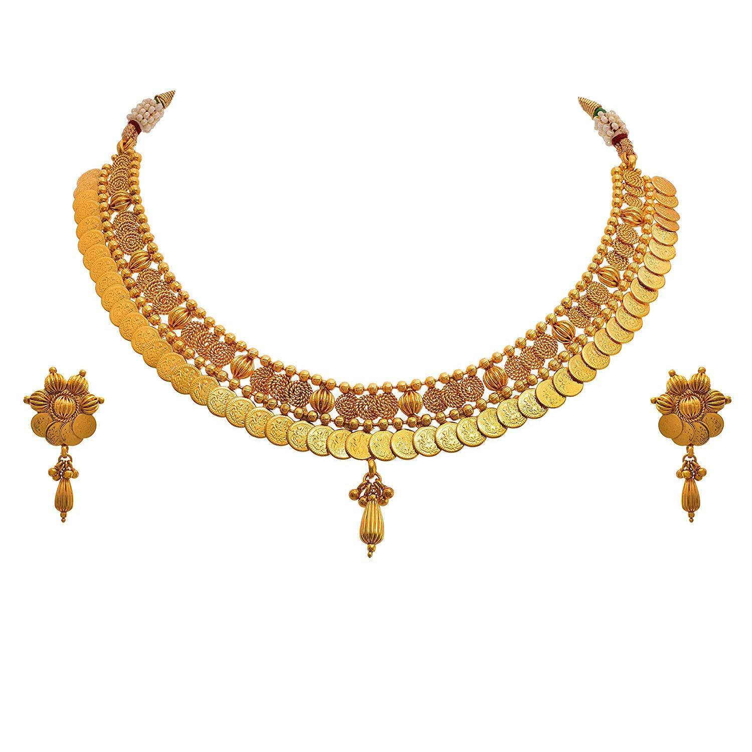 JFL - Traditional Ethnic Temple Laxmi Goddess One Gram Gold Plated Spiral Designer Necklace Set with Earring for Women and Girls