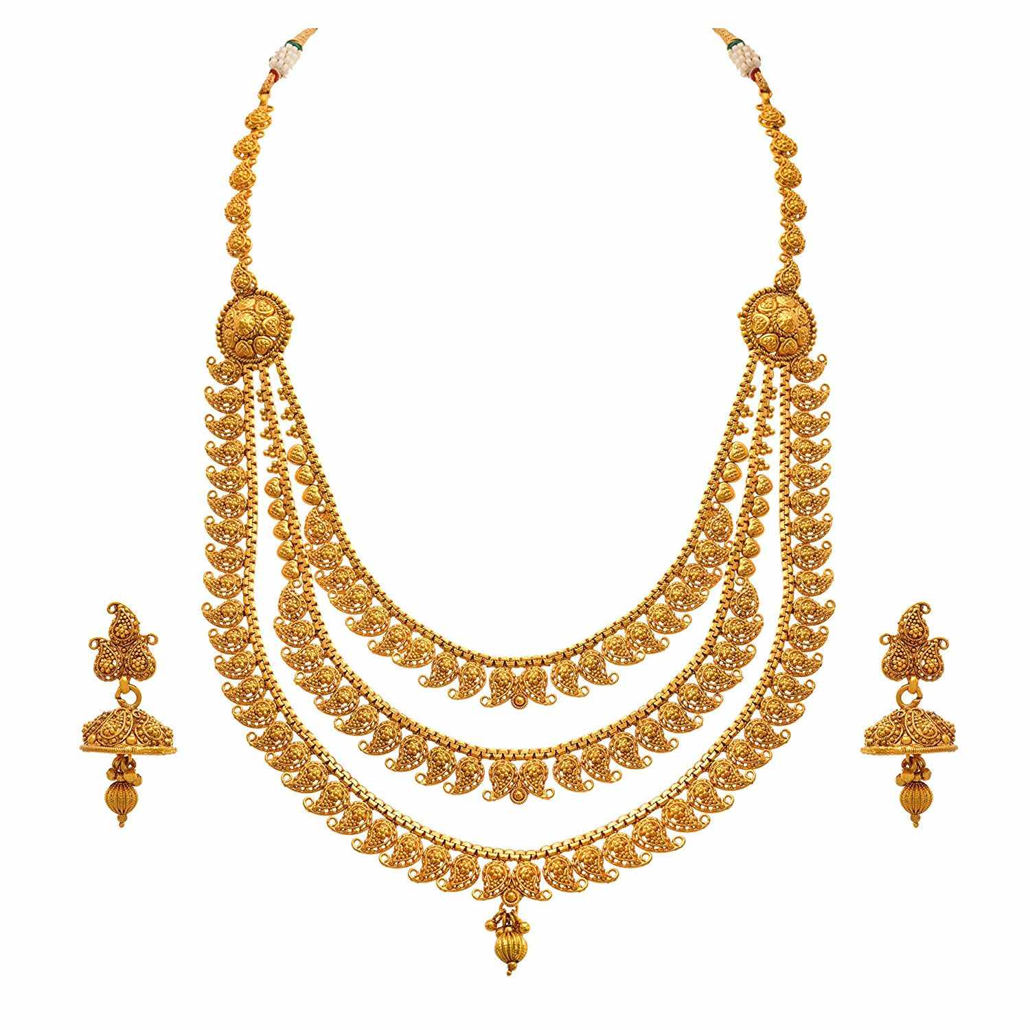JFL-Jewellery For Less Traditional And Ethnic One Gram Gold Plated Kaerie Designer Necklace Set With Earring For Women