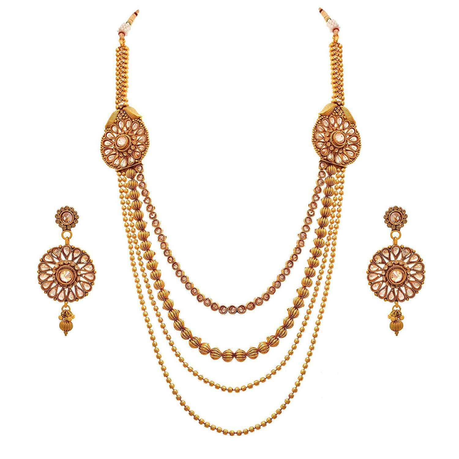 JFL - Jewellery For Less Traditional Ethnic One Gram Gold Plated Bead Polki Diamond Designer Long Necklace Set With Earring For Women & Girls.