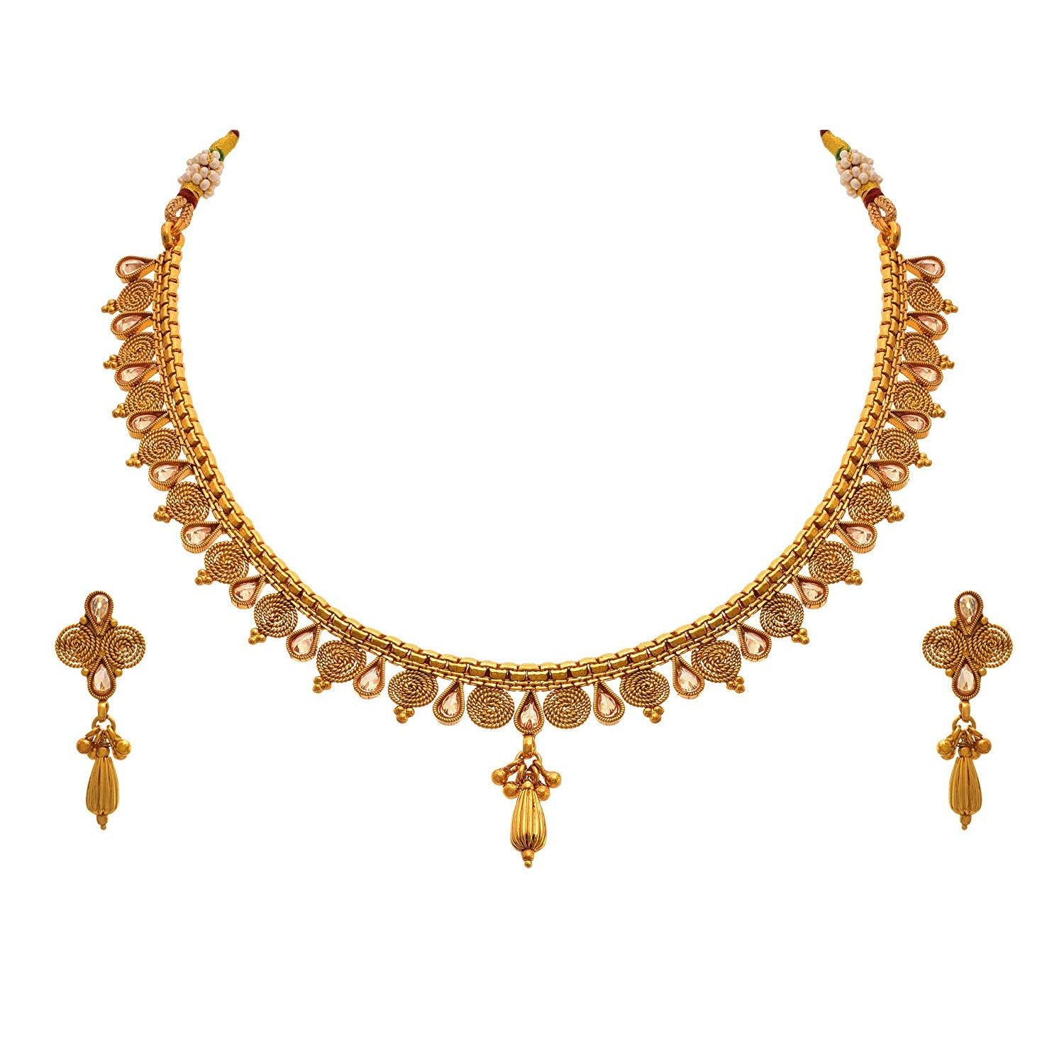 JFL - Traditional Ethnic One Gram Gold Plated Spiral Polki Diamond Designer Necklace set with Earring for Women & Girls.