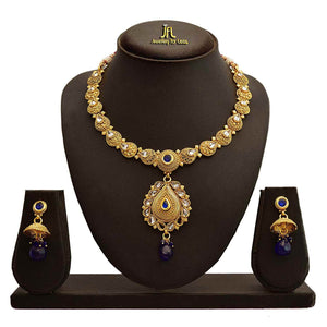 JFL - Traditional Ethnic One Gram Gold Plated Blue Stone Polki Diamond Designer Necklace Set with Earring for Women and Girls.