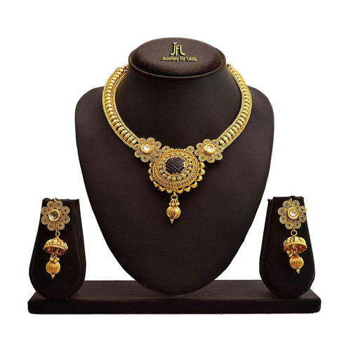 JFL - Traditional Ethnic One Gram Gold Plated Spiral Kundan Designer Necklace Set with Earring for Women and Girls.