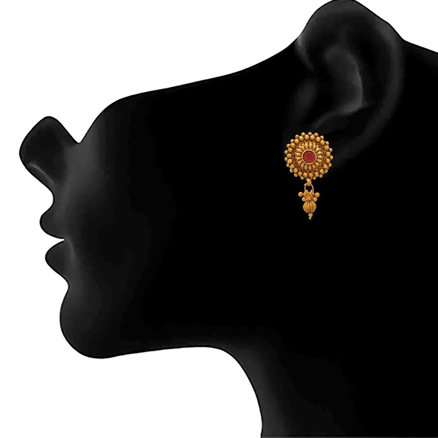 JFL - Traditional Ethnic One Gram Gold Plated Stone & Bead Designer Necklace Set with Earring for Women and Girls.