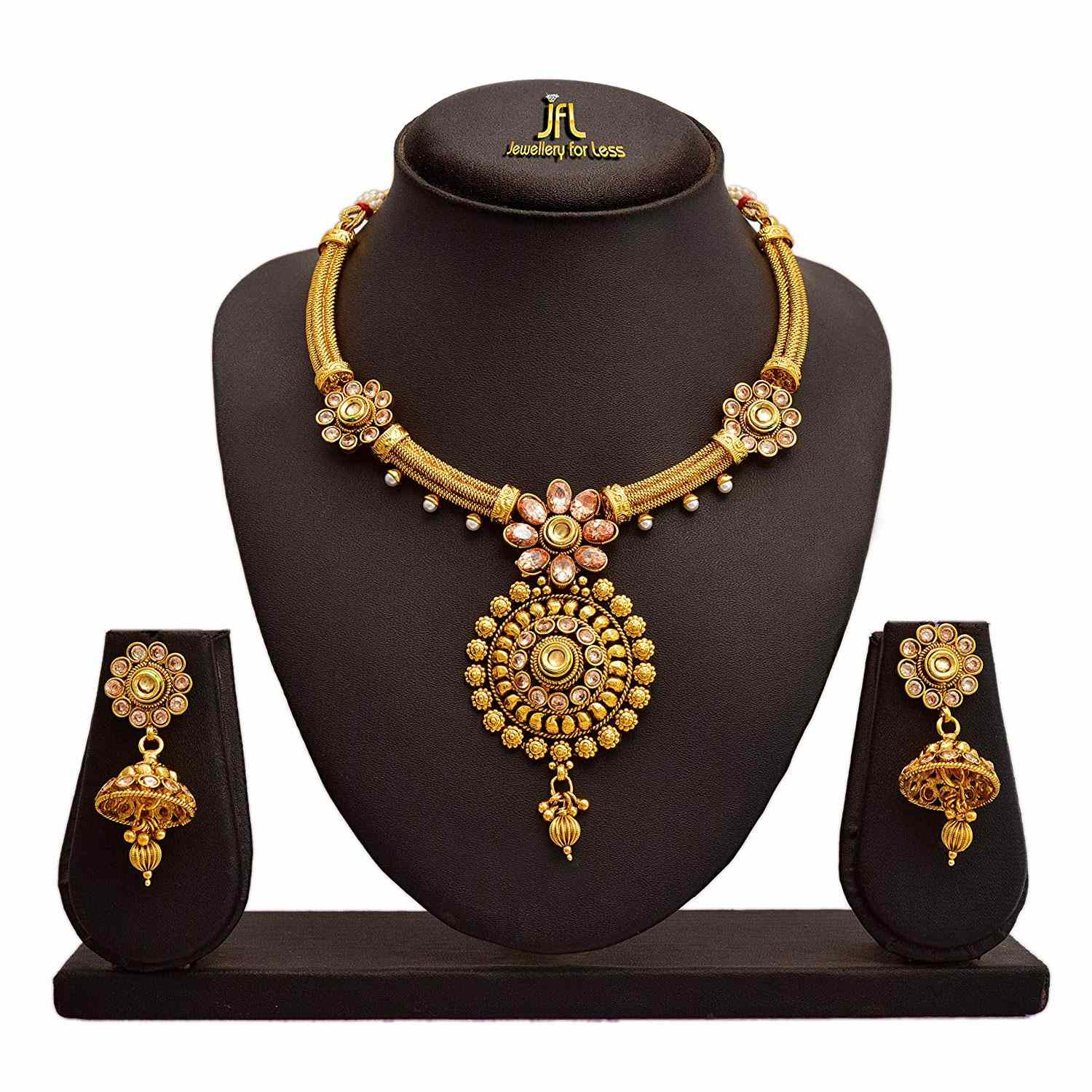 JFL - Traditional Ethnic One Gram Gold Plated LCD Champagne American Cubic Zircon Diamond Real Kundan Necklace Set for Girls and Women.