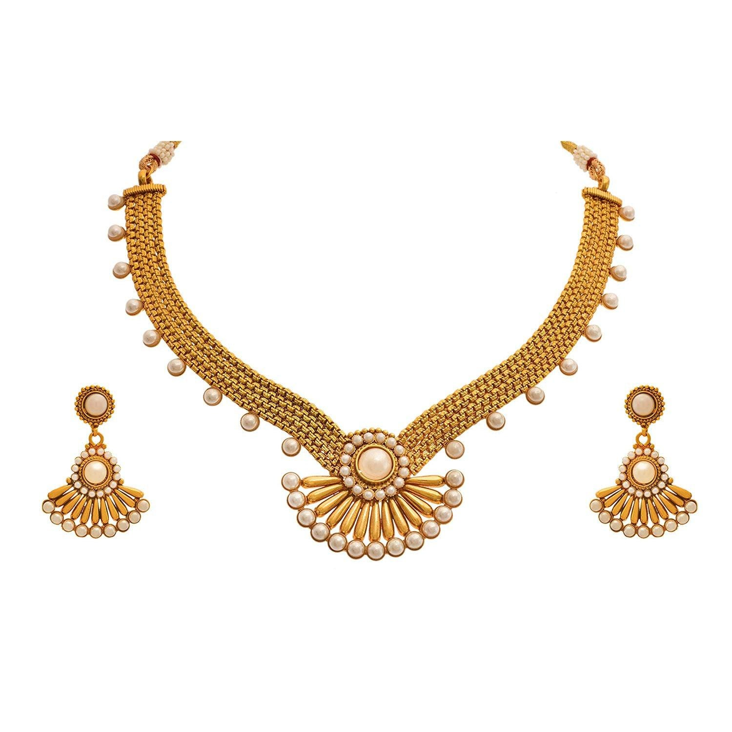 JFL - Traditional Ethnic One Gram Gold Plated Pearls Designer Necklace Set With Earring for Women & Girls.