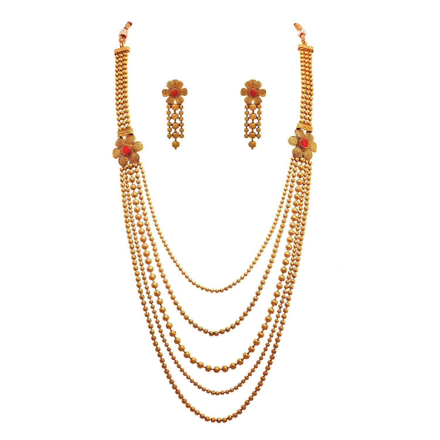 JFL - Traditional and Ethnic One Gram Gold Plated Multi Strand  Stones Designer Long Necklace Set with Earring for Women & Girls.