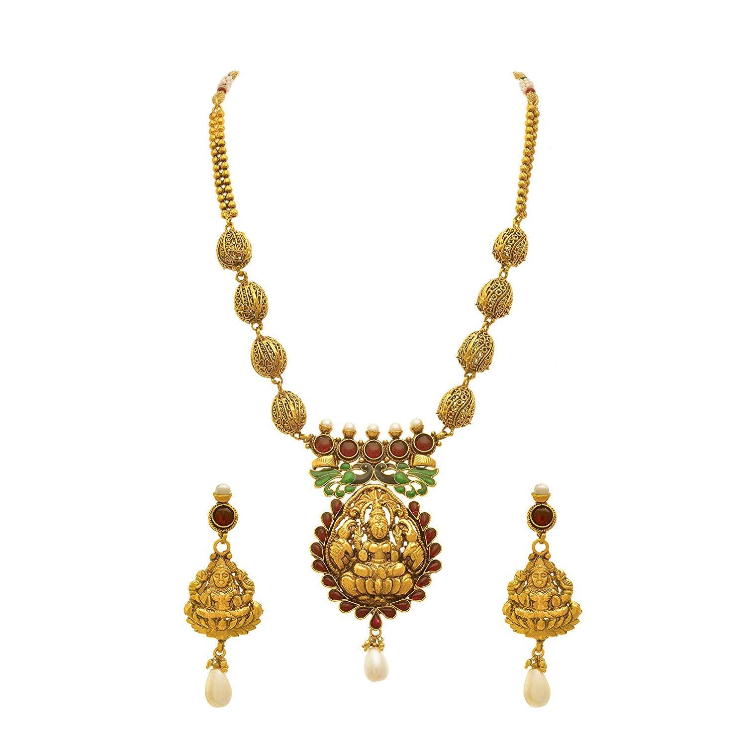 JFL- Magnificant Mahalaxmi One Gram Gold Plated Pink Stones & Pearls Peacock Designer Necklace Set for Women.