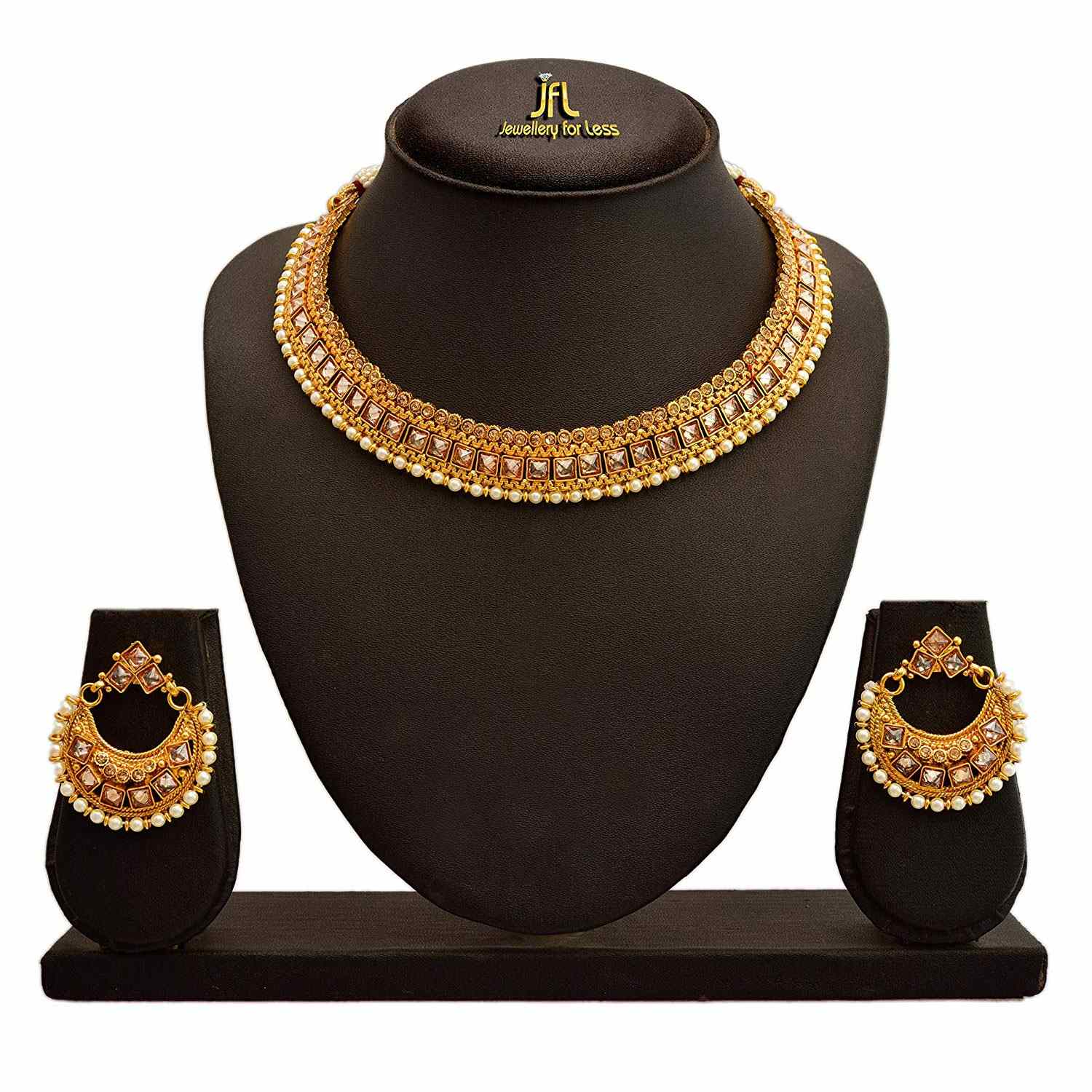 JFL - Traditional Ethnic One Gram Gold Plated LCD Champagne Polki Diamond & Pearl Designer Necklace Set with Earring for Women and Girls.