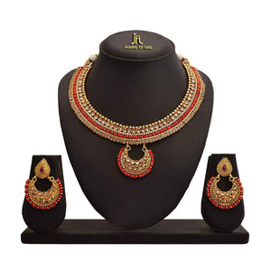 JFL - Traditional Ethnic One Gram Gold Plated Red Stone LCD Champagne Polki Diamond Designer Necklace Set with Earring for Women and Girls.