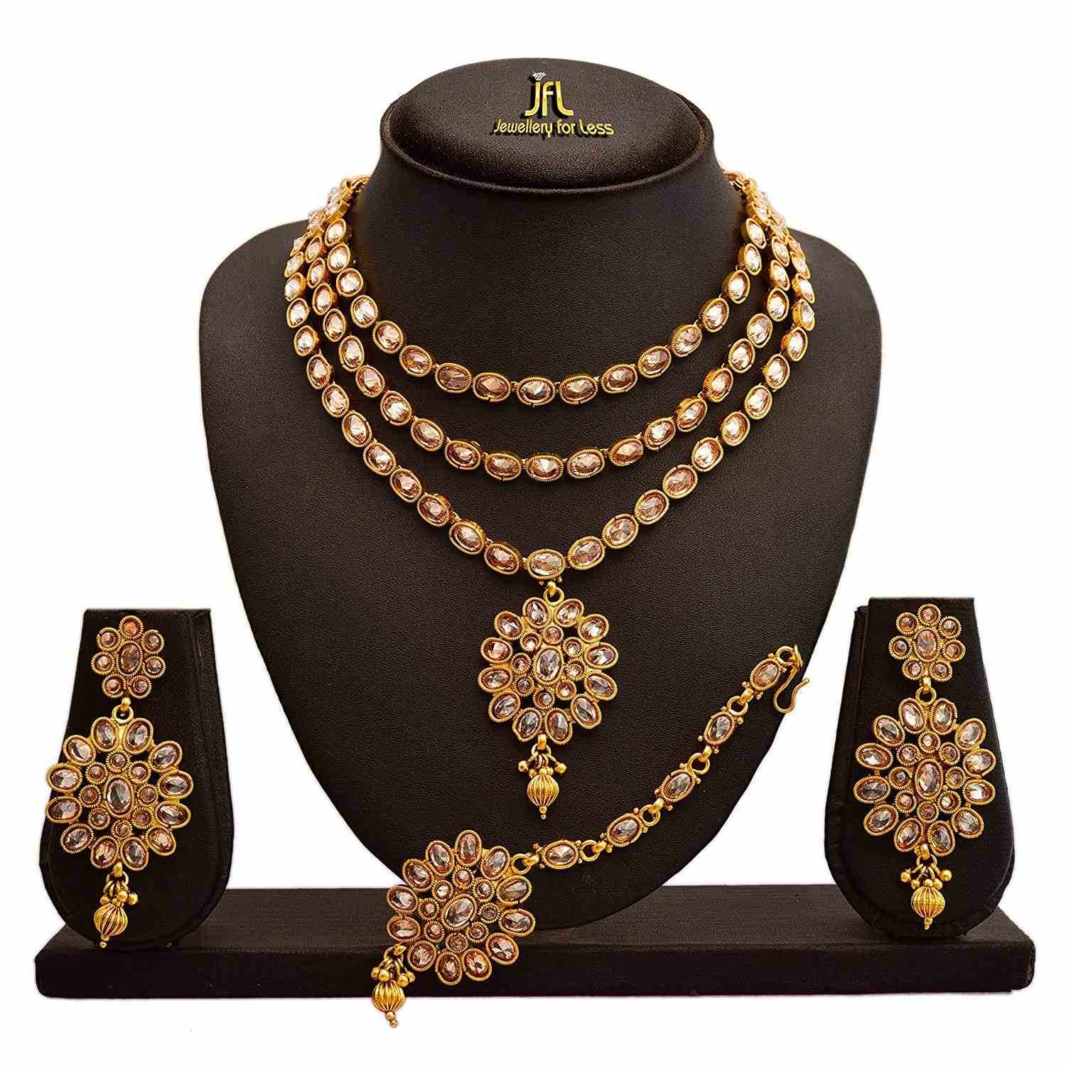 JFL - Traditional Ethnic One Gram Gold Plated LCD Champagne Diamonds Designer Semi Bridal Dulhan Necklace Set for Women.